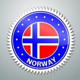 Etiqueta noruega de la bandera stock de ilustración