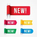 Etiqueta nova, sinal novo, etiqueta nova Imagens de Stock