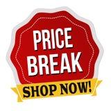 Etiqueta o etiqueta engomada de la rotura de precio Foto de archivo libre de regalías