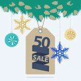 Etiqueta o etiqueta de la venta de la Navidad Imagen de archivo