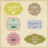 Etiqueta 2015 o etiqueta engomada del vintage de la celebración de la Navidad y del Año Nuevo Foto de archivo