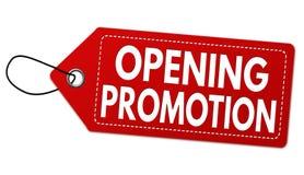 Etiqueta o precio de apertura de la promoción fotografía de archivo