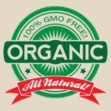 Etiqueta orgánica libre del vector de la OGM aislada Fotografía de archivo