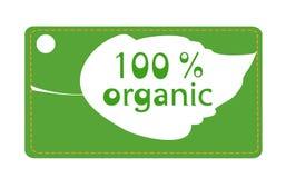 Etiqueta orgânica da folha Imagens de Stock