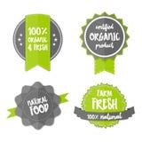 Etiqueta orgânica fresca do verde do eco da exploração agrícola do vetor da etiqueta ilustração stock