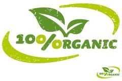 Etiqueta orgánica del ciento por ciento Imagen de archivo libre de regalías