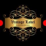 Etiqueta ornamental de lujo del oro - diseño del vector Foto de archivo