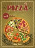 Etiqueta ou cartaz da pizza do vetor Fotografia de Stock Royalty Free