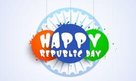 Etiqueta ou etiqueta indiana feliz da celebração do dia da república Imagem de Stock Royalty Free
