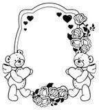 Etiqueta oval com as rosas do esboço e o urso de peluche bonito que guardam o coração Clipart da quadriculação Imagem de Stock