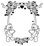 Etiqueta oval com as rosas do esboço e o urso de peluche bonito que guardam o coração Clipart da quadriculação ilustração stock