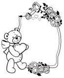Etiqueta oval com as rosas do esboço e o urso de peluche bonito que guardam o coração Clipart da quadriculação Fotografia de Stock Royalty Free