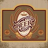 Etiqueta oval con la inscripción del ornamento para la cerveza Imagen de archivo