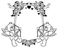 Etiqueta oval con las rosas del esquema y el oso de peluche Clip art de la trama Foto de archivo libre de regalías