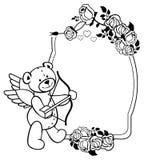Etiqueta oval con las rosas del esquema y el oso de peluche Clip art de la trama Imagenes de archivo