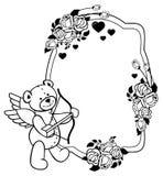 Etiqueta oval con las rosas del esquema y el oso de peluche Clip art de la trama Fotografía de archivo libre de regalías