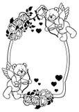 Etiqueta oval con las rosas del esquema y el oso de peluche Clip art de la trama Foto de archivo