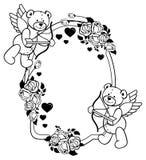 Etiqueta oval con las rosas del esquema y el oso de peluche Clip art de la trama Fotos de archivo