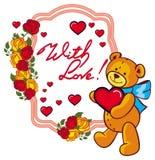 Etiqueta oval con las rosas rojas y el oso de peluche lindo que llevan a cabo un corazón grande Imagen de archivo libre de regalías