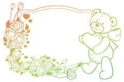 Etiqueta oval de la pendiente con las rosas del esquema y holdi lindo del oso de peluche Fotos de archivo libres de regalías