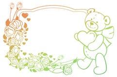 Etiqueta oval do inclinação com rosas do esboço e o holdi bonito do urso de peluche Fotos de Stock Royalty Free