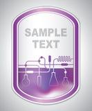 Etiqueta púrpura abstracta del laboratorio Fotos de archivo libres de regalías