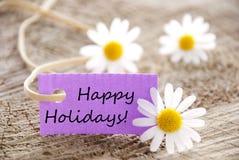Etiqueta púrpura con buenas fiestas imagen de archivo libre de regalías