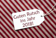 Etiqueta, papel rojo, Feliz Año Nuevo de los medios de Guten Rutsch 2018 Imagen de archivo
