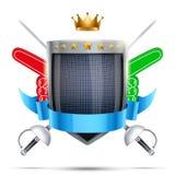 Etiqueta para cercar o clube ou o evento de esporte brilhante ilustração royalty free