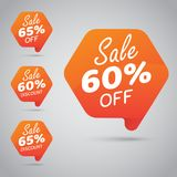 Etiqueta para comercializar la venta al por menor del diseño el 60% el 65% del elemento, disco, apagado en naranja alegre Foto de archivo libre de regalías