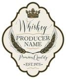 Etiqueta para el whisky con los oídos de la cebada ilustración del vector