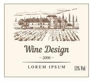 Etiqueta para la botella de vino con la plantación del lagar libre illustration