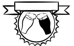 Etiqueta para la cerveza, diseño para pavimentar la barra Dos vidrios de cerveza con la cerveza ligera y oscura rodeada por el sa ilustración del vector