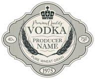 Etiqueta para la vodka con los o?dos del trigo y de la corona ilustración del vector