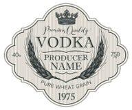 Etiqueta para la vodka con los o?dos del trigo y de la corona libre illustration