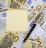 Etiqueta para notas em notas de banco Imagem de Stock