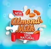 Etiqueta para o leite com amêndoas, respingo leitoso da amêndoa ilustração do vetor