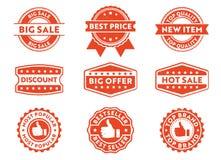 Etiqueta para o produto de mercado, o melhor preço do crachá do selo do vetor, venda quente, tipo superior, a venda a mais popula ilustração stock