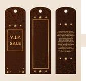 Etiqueta para a roupa Etiqueta do VIP para a roupa Molde com joia para o vetor da venda Ouro e cristais ilustração stock