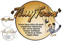 Etiqueta para sua mensagem Brinquedos na cidade minúscula bobina Fotografia de Stock Royalty Free