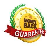 Etiqueta para trás garantida do dinheiro Fotografia de Stock Royalty Free