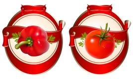 Etiqueta para um produto (ketchup, molho) com photorea Foto de Stock