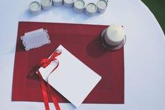 Etiqueta para um texto na tabela decorada Foto de Stock