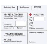 Etiqueta para un envase con sangre Fotografía de archivo libre de regalías
