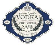Etiqueta para a vodca com as orelhas do trigo e da coroa ilustração royalty free