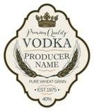 Etiqueta para a vodca com as orelhas do trigo e da coroa ilustração do vetor