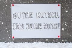 Etiqueta, pared del cemento, copos de nieve, Año Nuevo de los medios de Guten Rutsch 2018 Fotos de archivo