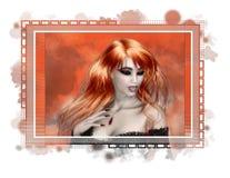 Etiqueta pelirroja del vampiro Foto de archivo libre de regalías