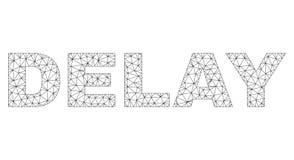 Etiqueta poligonal del texto del RETRASO del marco del alambre ilustración del vector