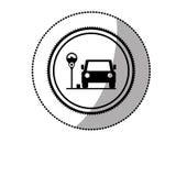 Etiqueta pontilhada com área de estacionamento para veículos com medidor de estacionamento ilustração do vetor